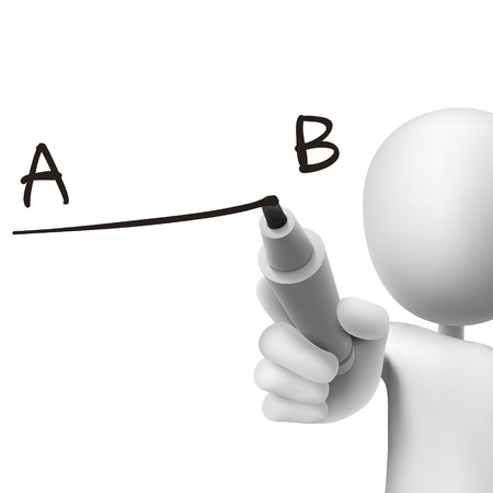 progression: line from point A to B drawn by 3d man over white