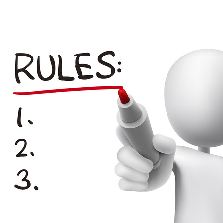 rules word written by 3d man over white  Illustration