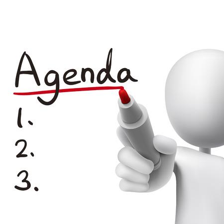 zeitplan: Agenda Wort von 3D-Mann in weiß geschrieben