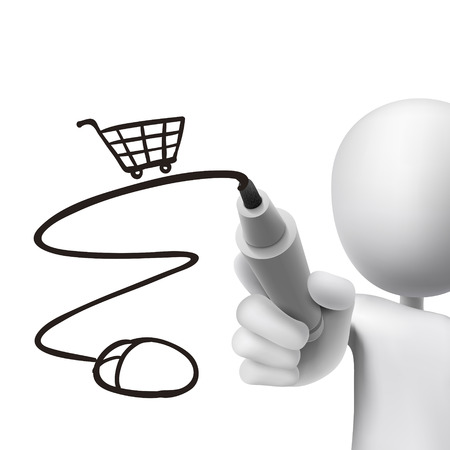 hand cart: online shopping cart drawn by 3d man over white