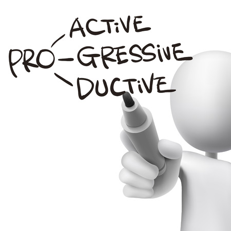 productive: proactive, progressive and productive written by 3d man over white