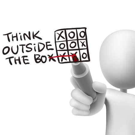 denken buiten de box woorden geschreven door 3D man over wit Vector Illustratie
