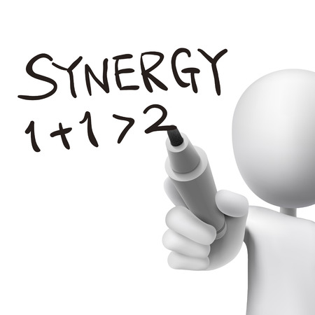 synergy word written by 3d man over white