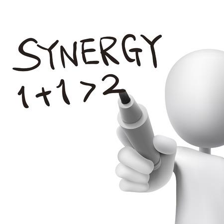 Synergie Wort von 3D-Mann in weiß geschrieben