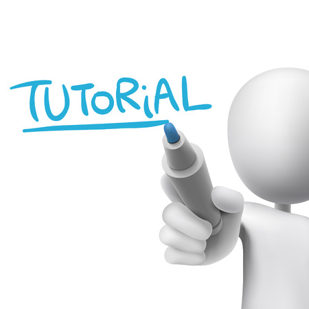 tutorial word written by 3d man over white  Vector