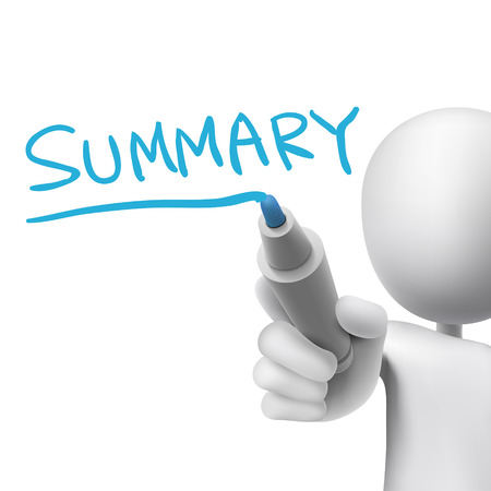 summary word written by 3d man over white