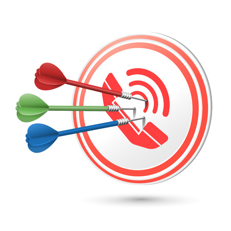 point and shoot: contact us concept target with darts hitting on it over white Illustration