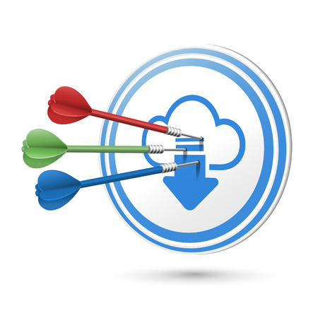 access point: cloud computing icon target with darts hitting on it over white Illustration