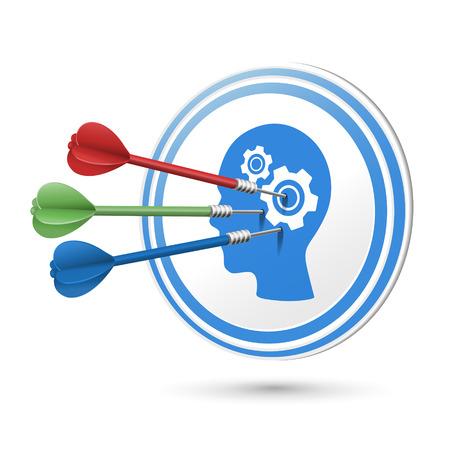 target thinking: pensando concepto objetivo con dardos golpear en ella m�s de blanco