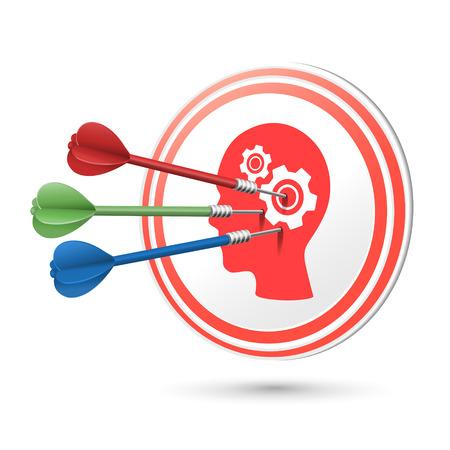 target thinking: pensando objetivo concepto con dardos golpear en �l m�s de blanco Vectores