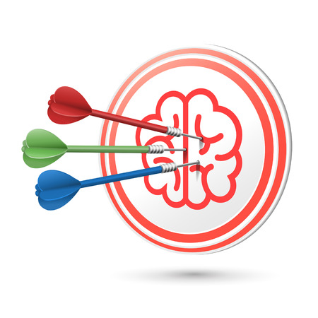 brain icon target with darts hitting on it over white Vector