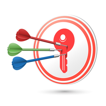 crucial: key icon target with darts hitting on it over white Illustration