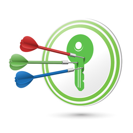 key board: key icon target with darts hitting on it over white Illustration