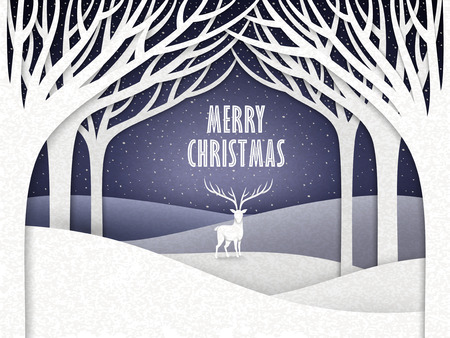 paper landscape of Christmas night with moose and forest  Vector