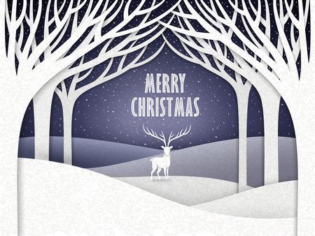 papier landschap van kerstnacht met elanden en bos