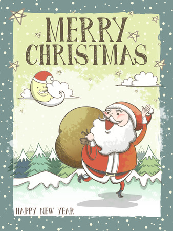 santa moose: lovely Merry Christmas greeting card or poster with Santa Claus