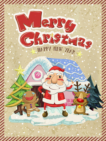 santa moose: Merry Christmas greeting graphic with Santa, moose and ginger man Illustration