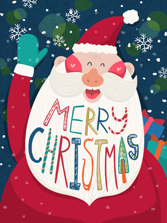 glad: Merry Christmas greeting graphic with Santa waving his hand