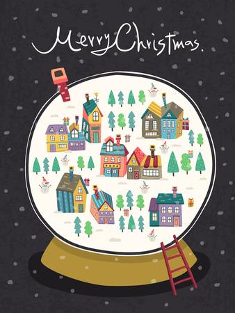 christmas snow globe: closeup look at Christmas snow globe over black