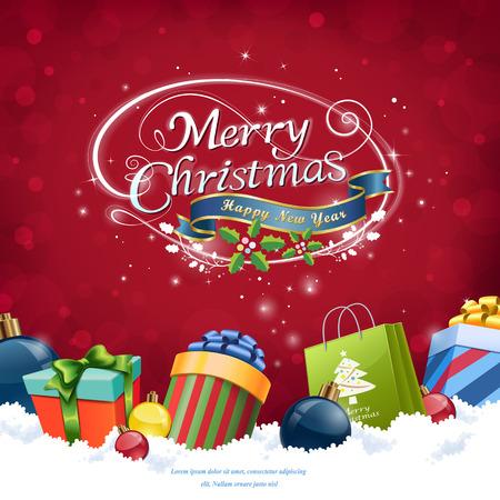赤い背景の上の雪の中のクリスマスの装飾  イラスト・ベクター素材