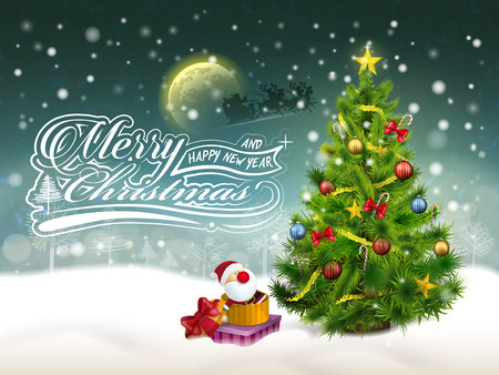 beautiful decorated Christmas tree and gifts in the snow Vector