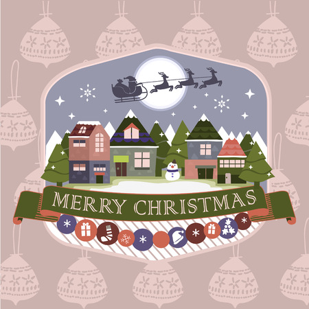 Merry Christmas night landscape greeting card and background Vector