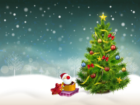 beautiful decorated Christmas tree and gifts in the snow background