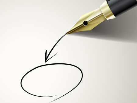 closeup look of fountain pen drawing circle and arrow on document  Illustration