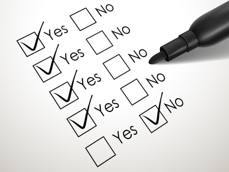 yes no check box with black pen over white paper Vector