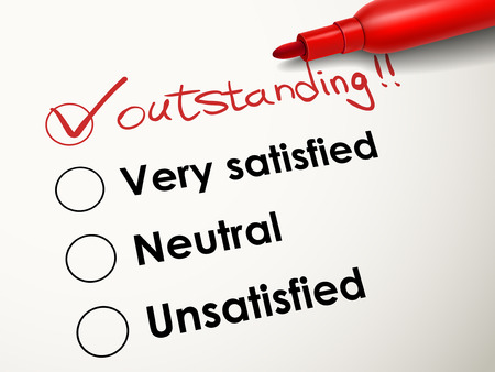 tick placed in outstanding check box with red pen over evaluation survey