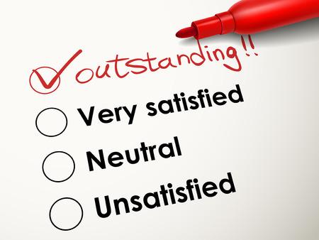tick geplaatst in uitstekende vakje met rode pen over evaluatieonderzoek Stock Illustratie