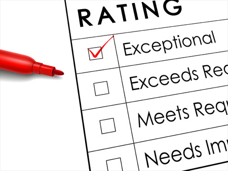 exceptional: tick placed in exceptional check box with red pen over rating survey