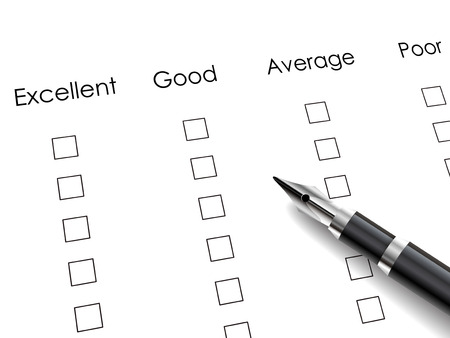 excellent customer service: check box with black pen over rating survey