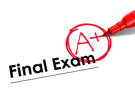 greatness: close up look at A Plus on final exam paper with red pen