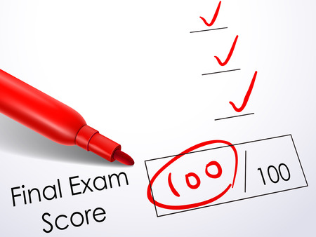 exam results: close up look at score on final exam paper with red pen
