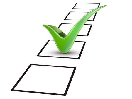 checklist: close up look at green tick marking on the check box