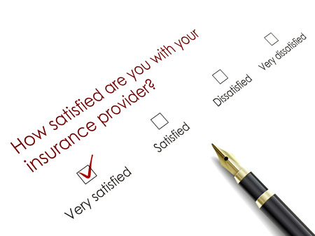 satisfied: tick placed in very satisfied check box with red pen over rating survey