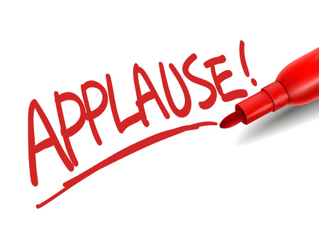acclamation: the word applause with a red marker over white