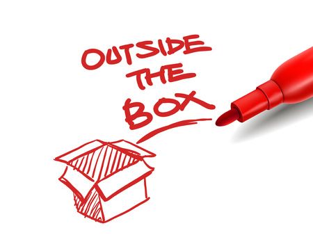 outside box: the words outside the box with a red marker over white