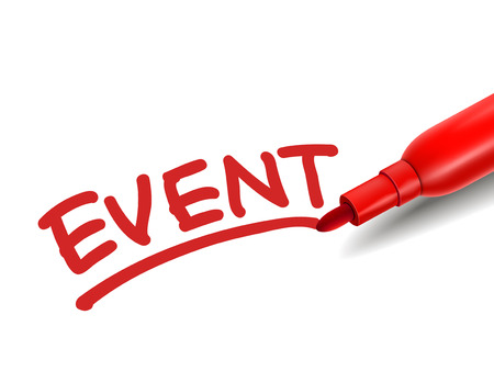 the word event with a red marker over white