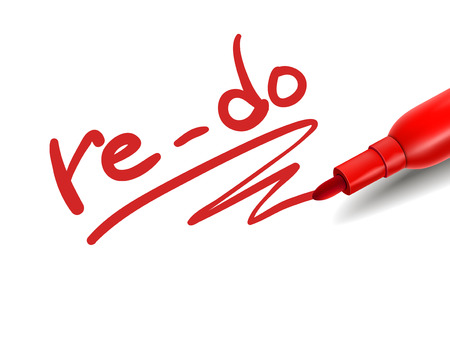 adapting: the word re-do with a red marker over white