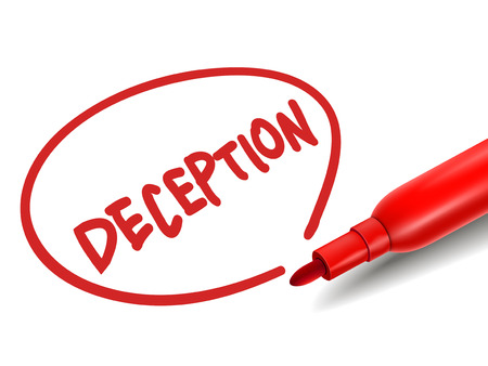 deceit: the word deception with a red marker over white Illustration