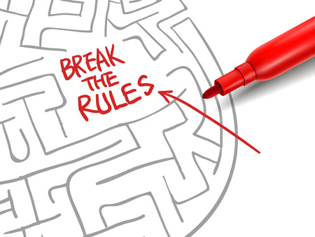 violate: break the rules with a red marker over white Illustration