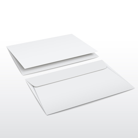 post scripts: blank envelope and letter template isolated on white
