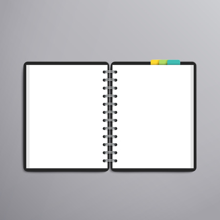 spiral notebook: open blank white notebook over grey background Illustration