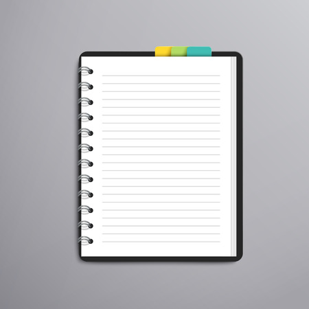 ruled paper: open blank lined notebook over grey background