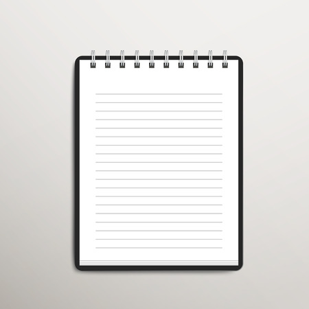 lined: open blank lined notebook over white background