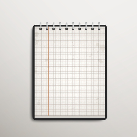 open checked notebook isolated on white background Vector