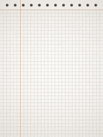 margin: sheet of squared white paper with red margin Illustration