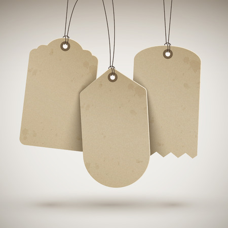 blank brown price tags hanging on the wall Иллюстрация